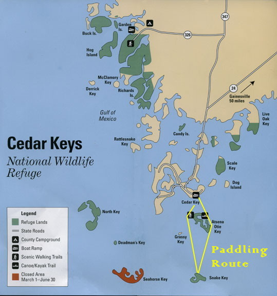 KayakGuide.com - Cedar Key to Snake Key, Florida USA on snake range map usa, snake river on map with key, snake america map, snake habitat map florida,